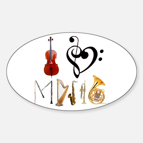 I Love Music Oval Decal