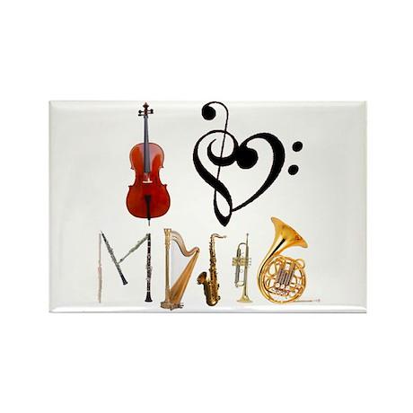 I Love Music Rectangle Magnet