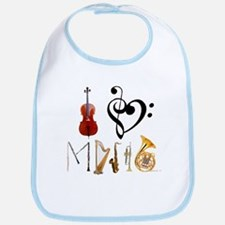 I Love Music Bib