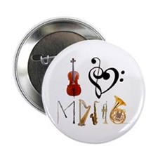"""I Love Music 2.25"""" Button (10 pack)"""