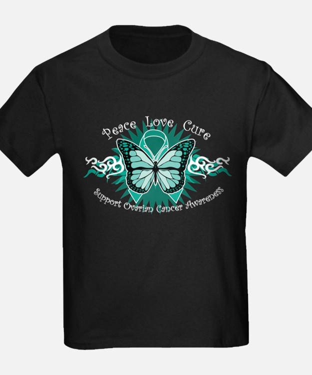 Teal butterfly kid 39 s clothing teal butterfly kid 39 s for Ovarian cancer awareness t shirts