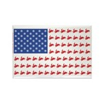 Snow Cross Snowmobile Flag of Sleds Rectangle Magn
