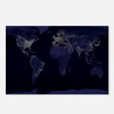 Earth at night Postcards (Package of 8)