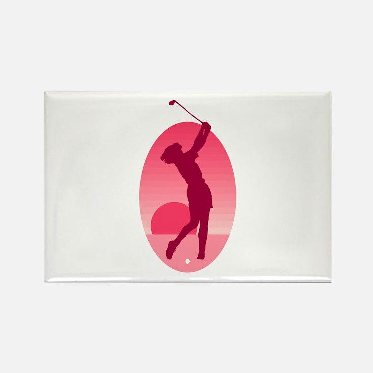 Pink Ladies Golf Logo Rectangle Magnet