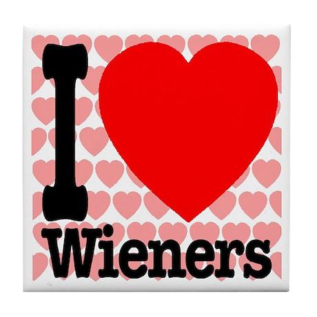 I Love Wieners Tile Coaster