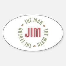 Jim Man Myth Legend Oval Decal