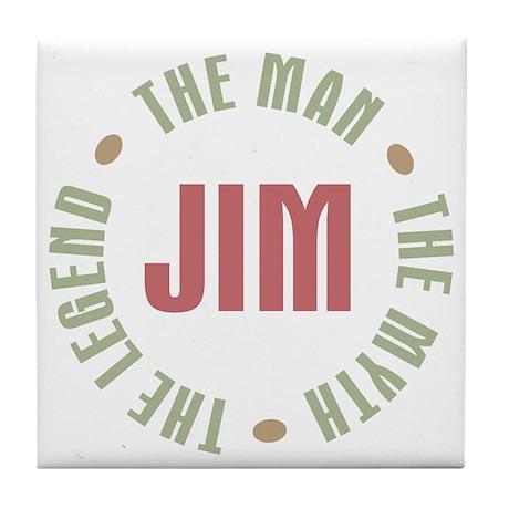 Jim Man Myth Legend Tile Coaster