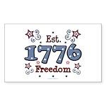 1776 Freedom Americana Rectangle Sticker 10 pk)