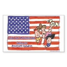 American Heroes Child Care Rectangle Decal