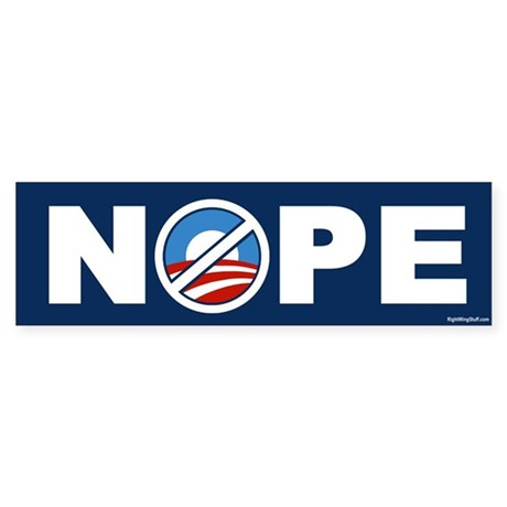 Nope 2 Anti-Obama Bumper Sticker