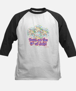 Born on the 4th of July Kids Baseball Jersey