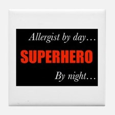 Superhero Allergist Gift Tile Coaster