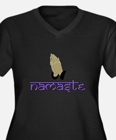 Namaste purple Women's Plus Size V-Neck Dark T-Shi
