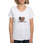 Americana Heart Women's V-Neck T-Shirt