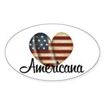 Americana Heart Oval Sticker