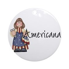 Americana Girl Ornament (Round)