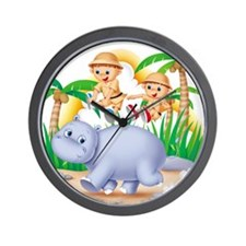 Safari Hippo Wall Clock