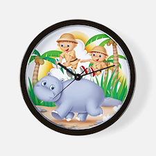 Safari Hippo Wall Clock