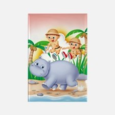 Safari Hippo Rectangle Magnet