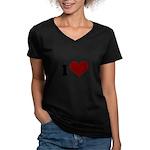 i heart Women's V-Neck Dark T-Shirt