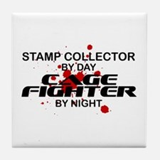 Stamp Collector Cage Fighter by Night Tile Coaster