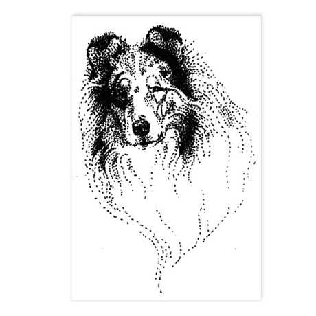 Blue Rough Collie Postcards (Package of 8)