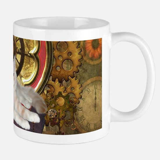 Steampunk, cute cat with clocks and gears Mugs