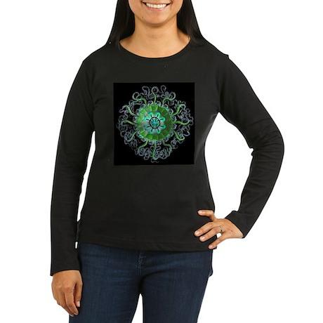 Green Mandala Women's Long Sleeve Black T-Shirt