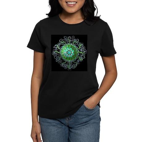 Green Mandala Women's Black T-Shirt