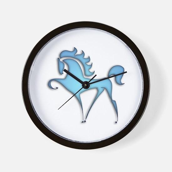 Stylized Horse (blue lt) Wall Clock