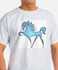 Stylized Horse (blue lt) Ash Grey T-Shirt