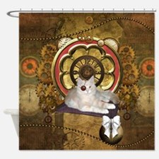 Steampunk, cute cat with clocks and gears Shower C