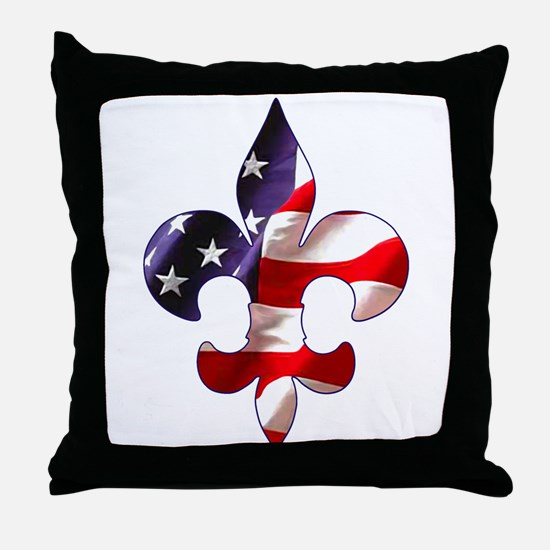 Fleur de lis Stars & Stripes Throw Pillow