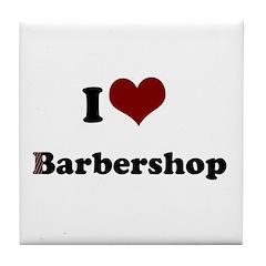 i heart barbershop Tile Coaster
