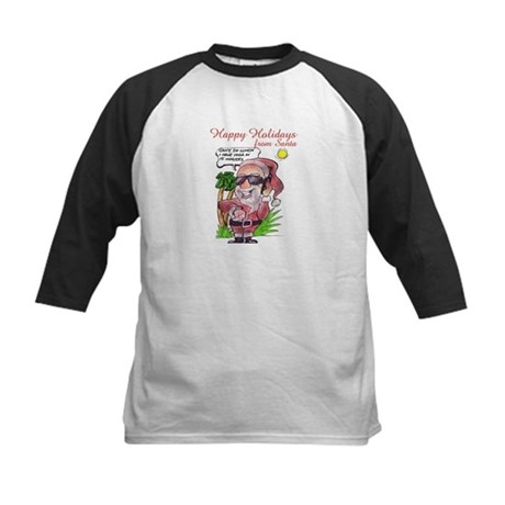 Santa on Cell Phone (caption) Kids Baseball Jersey