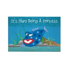 Blue It's Hard Being A Princess Rectangle Magnet