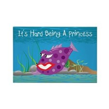 Purple It's Hard Being A Princess Rectangle Magnet