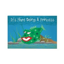 Green It's Hard Being A Princess Rectangle Magnet