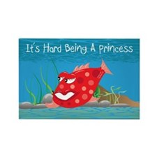 Red It's Hard Being A Princess Rectangle Magnet