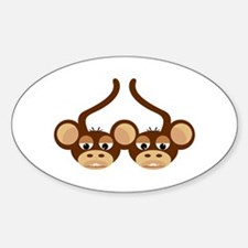 MONKEY LOVE Oval Decal