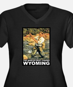 Wyoming Fishing Women's Plus Size V-Neck Dark T-Sh
