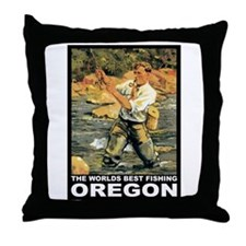 Oregon Fishing Throw Pillow