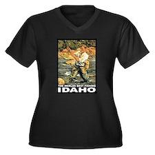 Idaho Fishing Women's Plus Size V-Neck Dark T-Shir