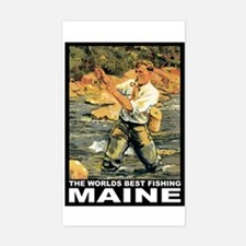 Maine Fishing Rectangle Decal