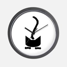 Black Pounce Cat Wall Clock