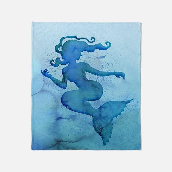 Blue Watercolor Mermaid Throw Blanket