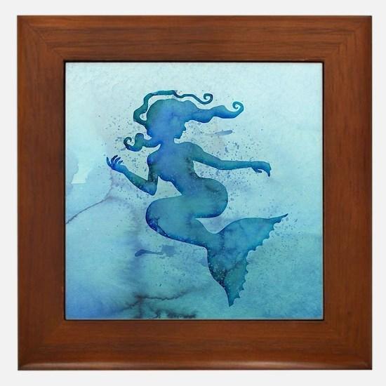 Blue Watercolor Mermaid Framed Tile