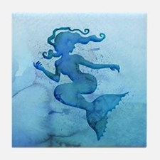 Blue Watercolor Mermaid Tile Coaster