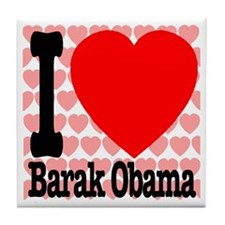 I Love Barak Obama Tile Coaster