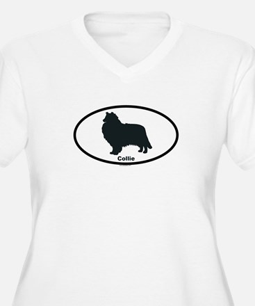 COLLIE-ROUGH Womes Plus-Size V-Neck T-Shirt